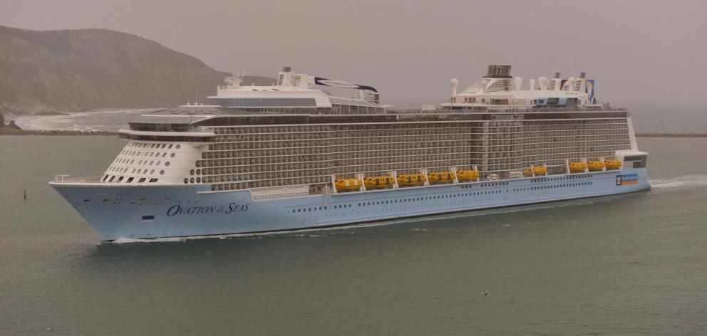 Mega-cruise ship 'Ovation of the Seas' passes through the heads if the harbour on its way to Port Chalmers. Photo: Gerard O'Brien.