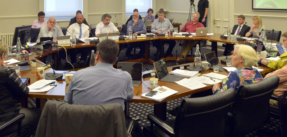 Dunedin city councillors debate the 2017-18 budget at a meeting at the Municipal Chambers...