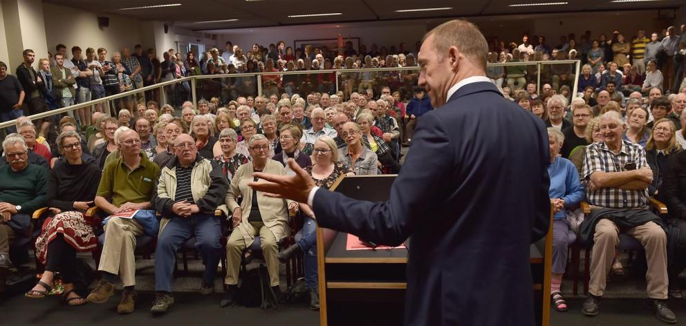 Labour leader Andrew Little speaks to more than 400 people in a packed Hutton Theatre in Dunedin last night. The audience was a range of ages. It was believed to be one of the largest political meetings held in Dunedin for many years and the largest Labou