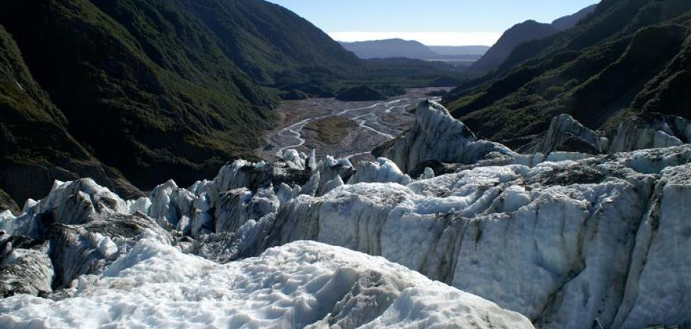Looking down the Waiho Valley from the Franz Josef Glacier. Photo by Alexander Klink.