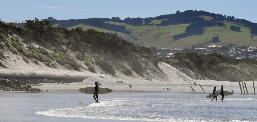 Geotubes protecting one end of the sand dunes at Ocean Beach from erosion should be extended, St...