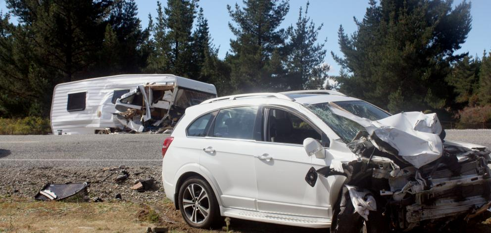 No-one was seriously injured after a rental car crashed into the side of a caravan being towed by...