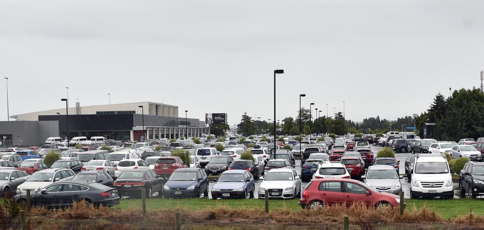 Dunedin Airport has been packed since last Thursday with cars belonging to passengers travelling to Auckland for Adele concerts. Photo by Peter McIntosh.