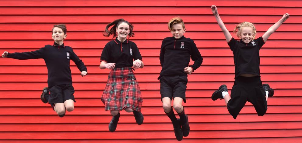 Dunedin North Intermediate pupils (from left) Caspar Rennie-Weston (11), Ella Clarke (12), James...