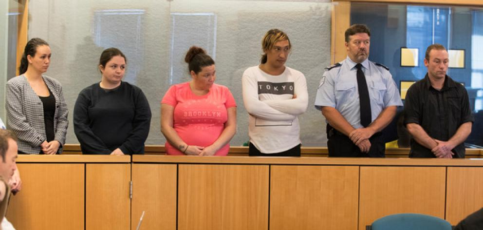 Michelle Blom, Nicola Jones, Julie-Ann Torrance, Cameron Hakeke, a court security guard and Wayne Blackett. Photo: NZ Herald