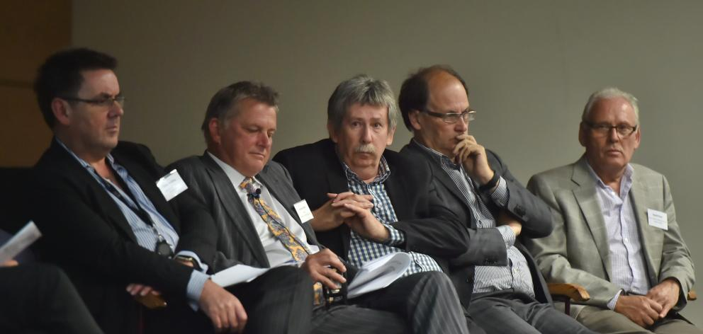 Dunedin Hospital rebuild representatives (from left) SDHB chief executive Chris Fleming, Southern Partnership Group chairman Andrew Blair, SPG member and deputy commissioner Richard Thomson, Ministry of Health critical projects director Michael Hundleby,