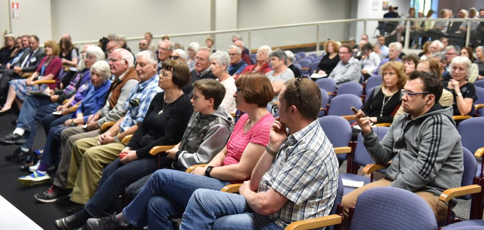 Part of the audience at the meeting at the Otago Museum Hutton Theatre. Photos: Gregor Richardson.
