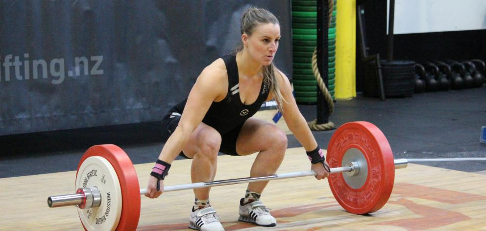 Amanda Gould in action at the South Island Weightlifting Championships in  Dunedin last July.