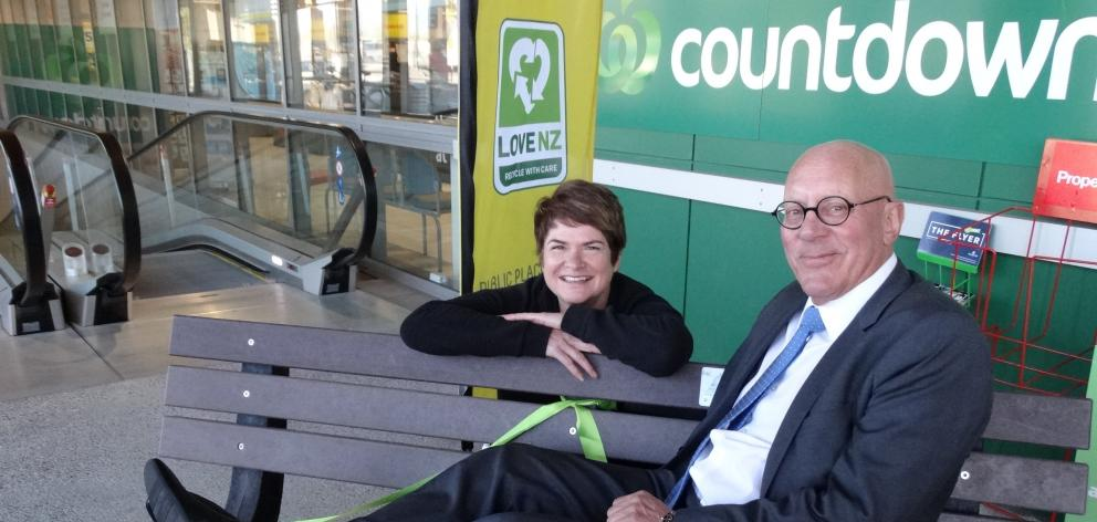 Queenstown Lakes Mayor Jim Boult and The Packaging Forum's Lyn Mayes try out a seat made from...