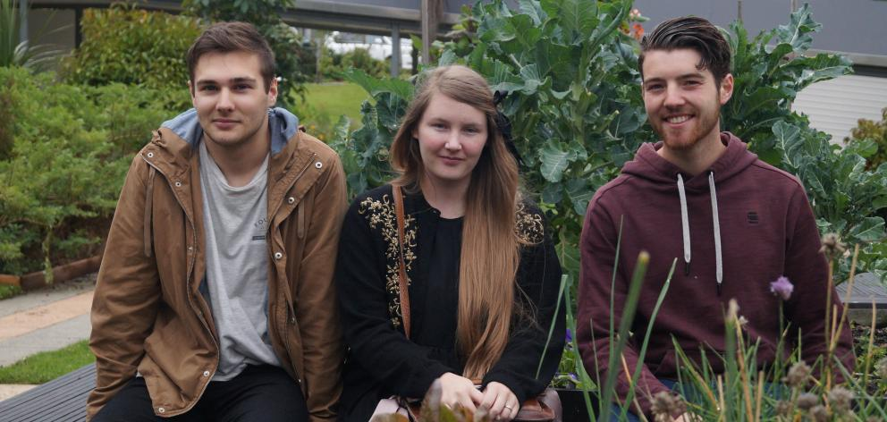 "Otago Polytechnic communication design third year students (from left) Liam Hook, Jenah Ferguson and Daniel Hunsche are creating a ""foraging"" resource for Dunedin residents to source edible weeds. PHOTO: GRETA YEOMAN"