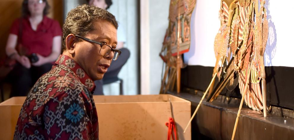 Dr Joko Susilo wows the crowd with shadow puppetry at the International Storytelling Festival at...