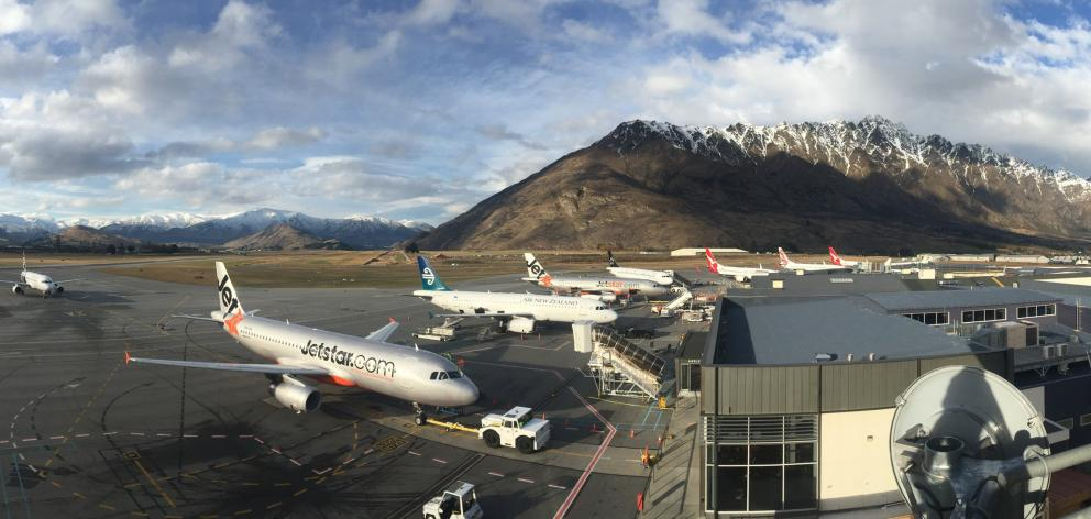 A line-up of jets at Queenstown Airport in 2015. Each year, the airport handles more planes,...