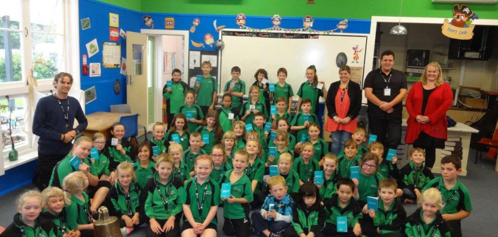 The pupils of Maheno School, who will travel to Wellington after winning an airpoints competition...