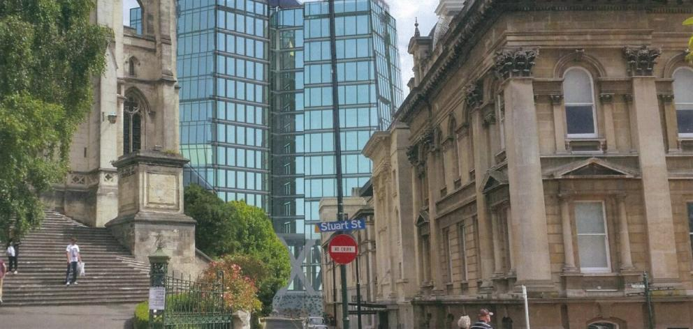 A view along Harrop St showing the proposed five-star hotel flanked by St Paul's Cathedral and...