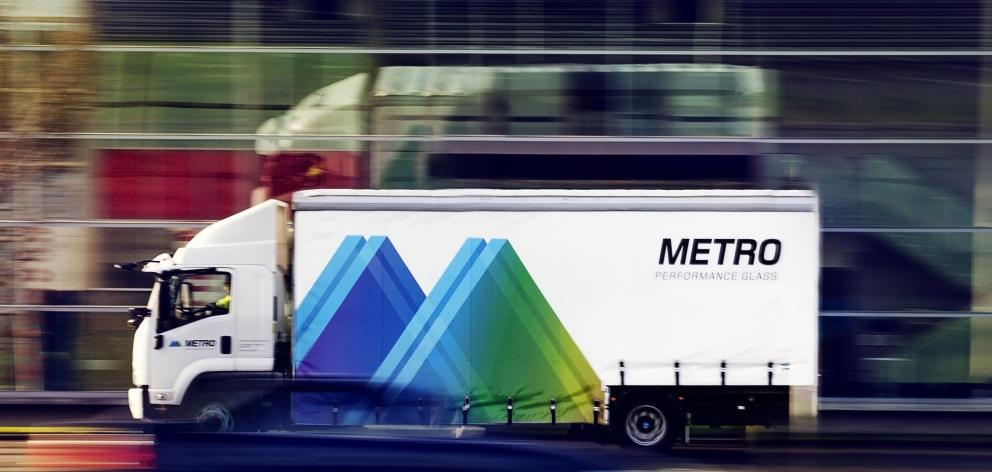 One of Metroglass' vehicles delivering glass.