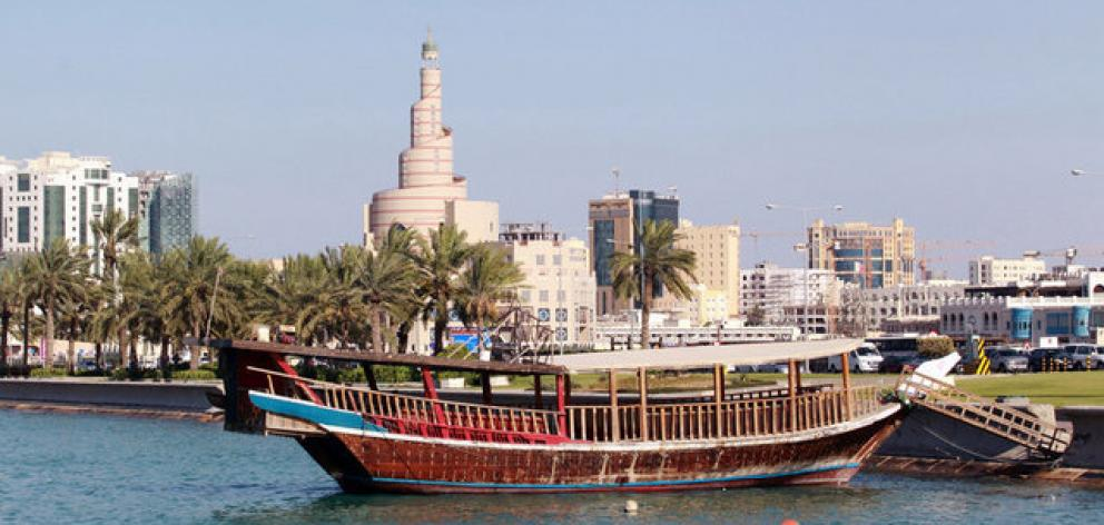 Traditional boat is seen in the water in Doha. Photo: Reuters