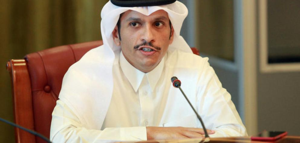Qatar's foreign minister Sheikh Mohammed bin Abdulrahman al-Thani speaks to reporters in Doha. Photo: Reuters