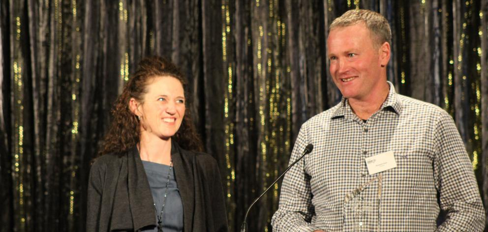 Richard Hore, with his wife, Abby, receives the supplier of the year award at the Beef and Lamb...