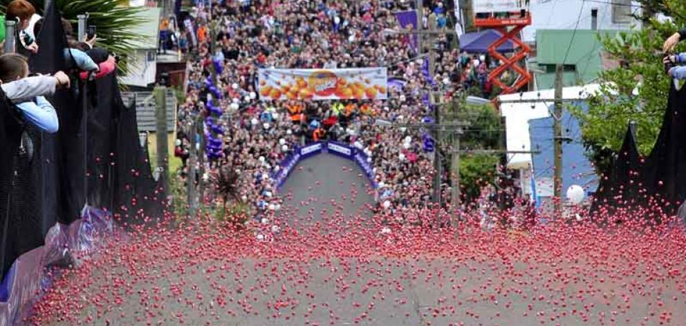 The annual Cadbury Jaffa Race was held on Friday at Dunedin's Baldwin Street, the steepest street...