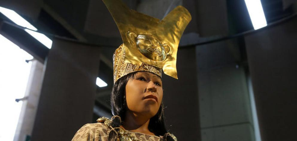 A replica of The Lady of Cao face, a female mummy found at the archaeological site in Peru. Photo: Reuters
