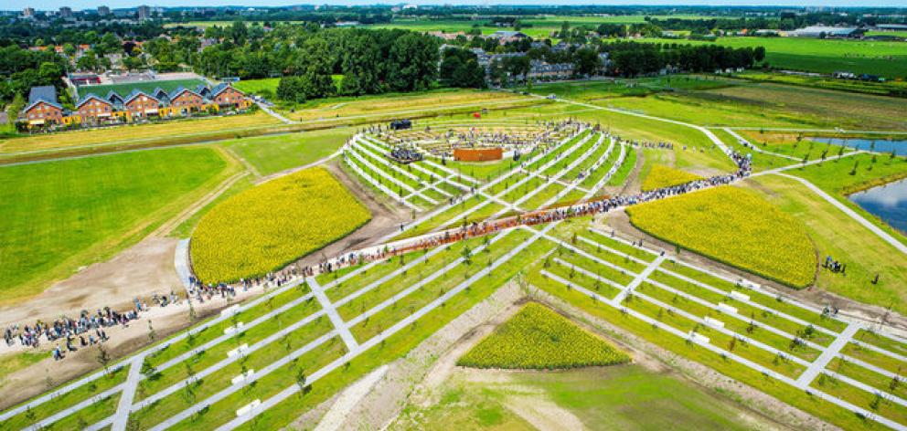 The National Monument for the victims of the Malaysia Airlines crash in Ukraine in 2014 is formed by trees in the shape of a ribbon in Vijfhuizen, Netherlands.