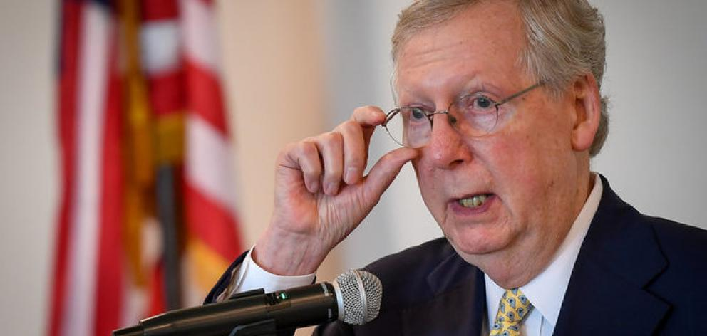 US Senate Republican leader Mitch McConnell announced a vote on a straight repeal of Obamacare, which would take effect in two years, after it became clear that he did not have enough support to pass an overhaul of the healthcare law. Photo: Reuters