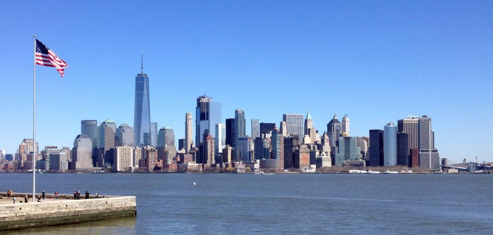 Lower Manhattan and the financial district is pictured from Ellis Island.