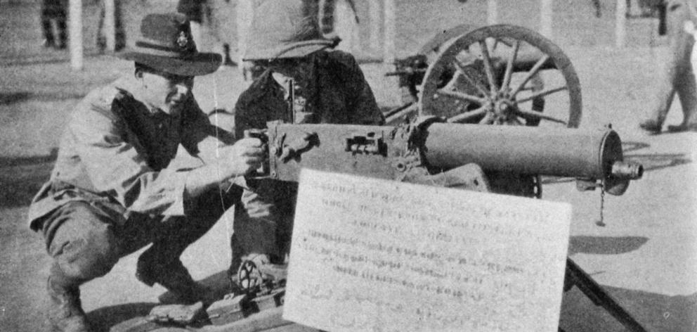 One of five German machine guns among the trophies captured from the Turks and now on display in Cairo. - Otago Witness, 11.7.1917.