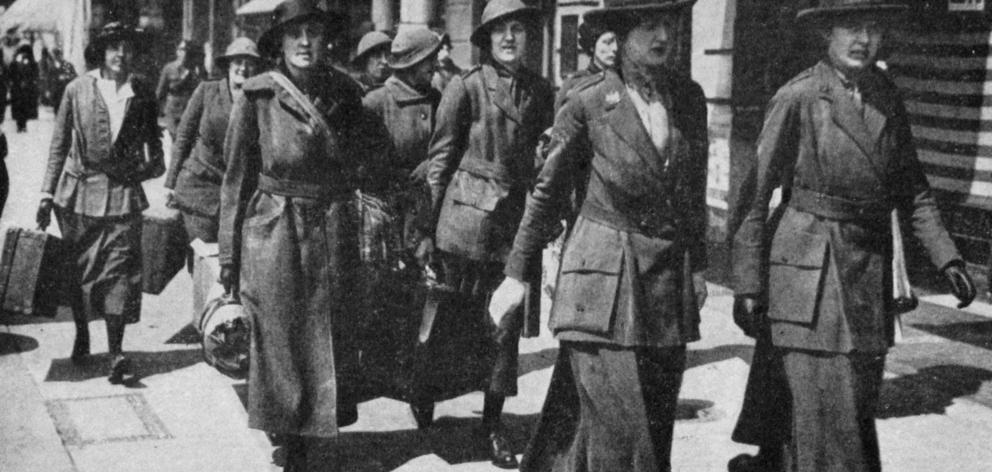 A detachment of the British Women's Army Auxiliary Corps leaving for France to serve behind the...