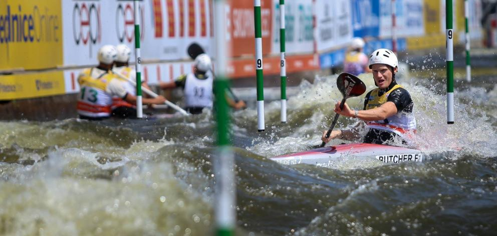 Alexandra kayaker Finn Butcher competes in the Prague World Cup earlier this year. Photo: Martina...