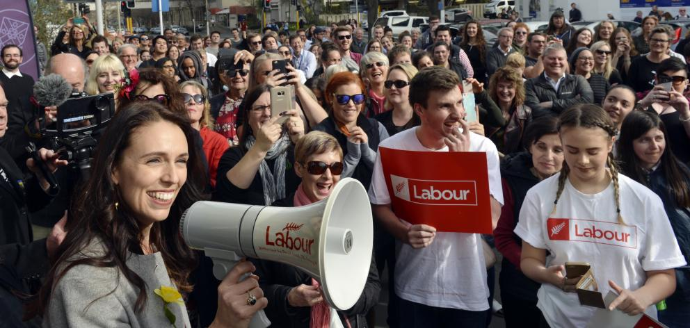 Labour leader Jacinda Ardern speaks to the people who could not fit into the Hunter Centre...