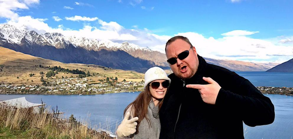 Kim Dotcom  and partner Elizabeth Donnelly spent the weekend in Queenstown house-hunting. Photo:...