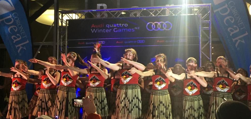 Members of the Arrowtown School kapa haka group perform a waiata at the New Zealand Winter Games...