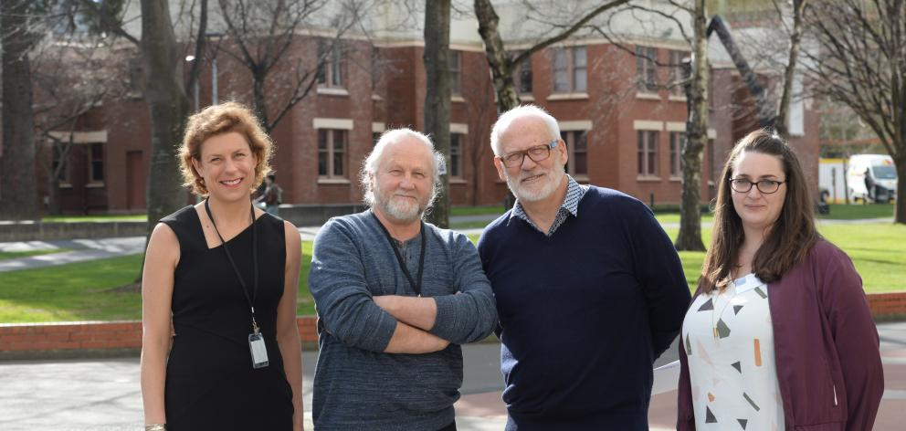 Conference cohort ... At the Screenwriting Research Network International Conference at the University of Otago in Dunedin yesterday are (from left) conference co-organisers Dr Davinia Thornley and Allan Baddock, New Zealand Film Commission chief executiv