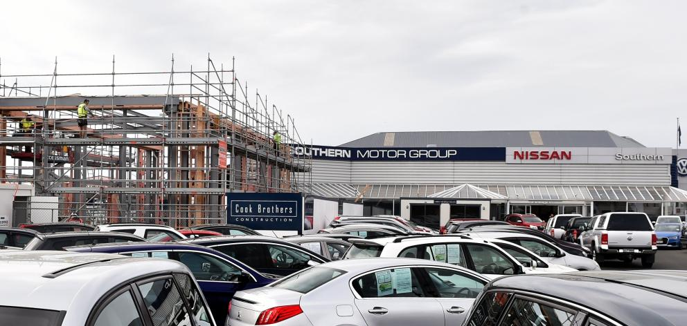 A $2million redevelopment under way at the Southern Motor Group car yard in Andersons Bay, Dunedin, this week. Construction began six weeks ago, Southern's owner, Ken Cummings, said when contacted. Mr Cummings said the redevelopment was ahead of schedule