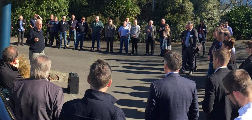 TracMap founder Colin Brown addresses the crowd at the opening of the company's new offices in Dukes Rd, Mosgiel, last week. Photo:Supplied.