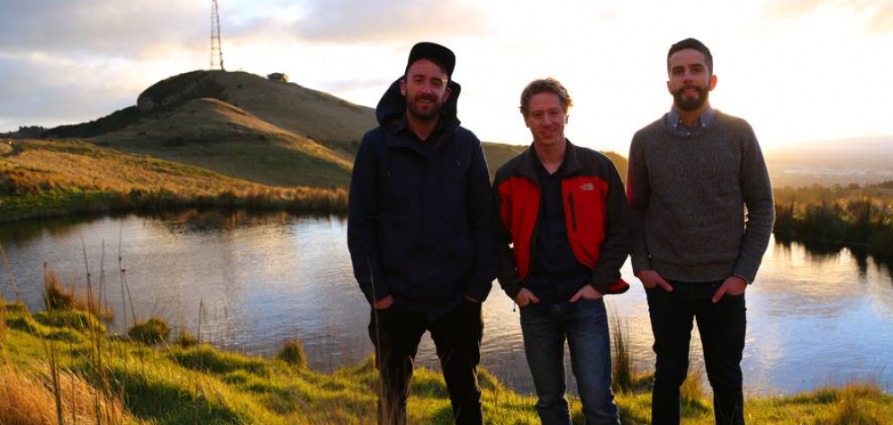 The Trump Forest crowdfunding campaign was launched by Christchurch-based men (from left) Adrien Taylor, Dan Price and Jeff Williams. Photo: NZ Herald / Supplied