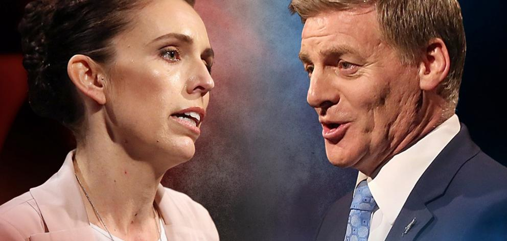 Labour leader Jacinda Ardern and National leader Bill English face off in another leaders debate in Christchurch. Photo: ODT