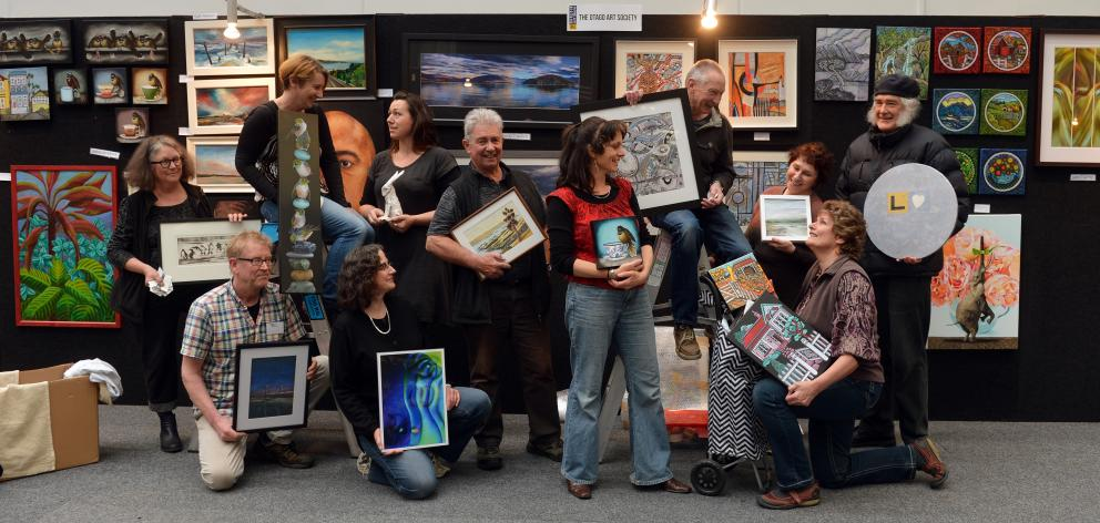 Otago Art Society artists (from left) Pauline Bellamy, Raimo Kuparinen, Marie Reid, Jane Trotter,...