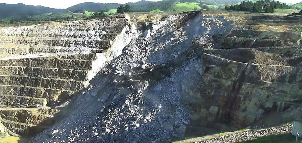 The 2016 2 million tonne rockfall at historic Martha Pit, in Oceana Gold's Waihi mine. Photo: Supplied