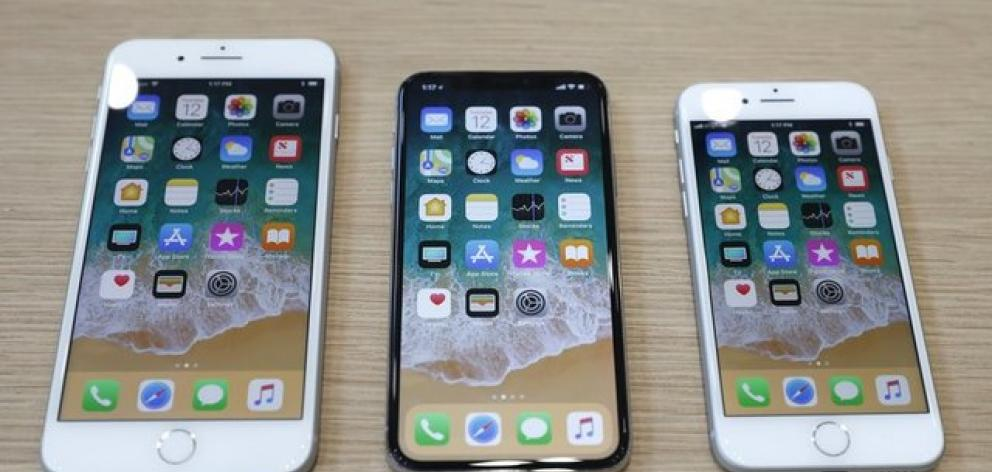 iPhone 8 Plus, iPhone X and iPhone 8 models are displayed during an Apple launch event in Cupertino. Photo: Reuters