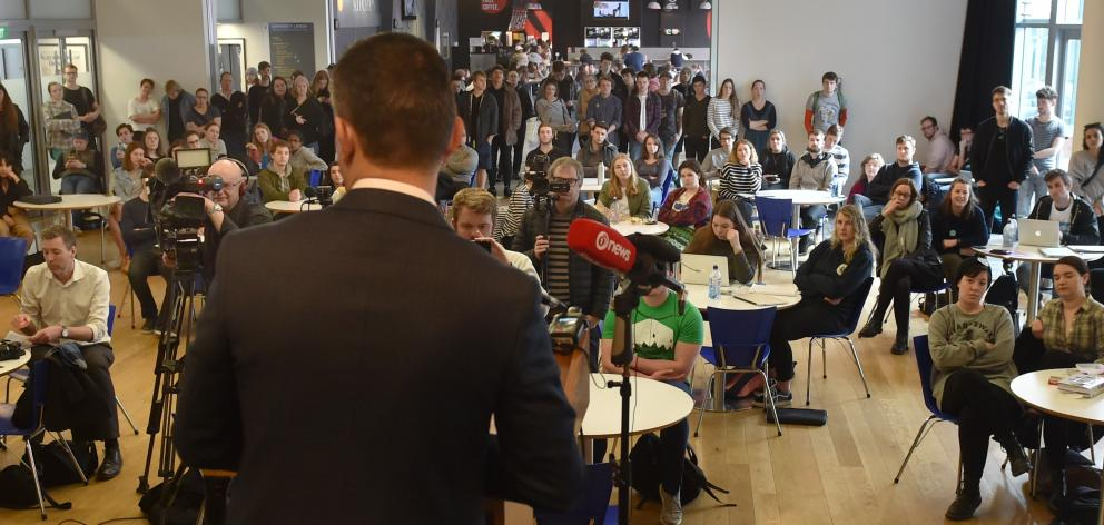 Green Party leader James Shaw announces the party's tertiary policy at the University of Otago yesterday. Photo: Peter McIntosh
