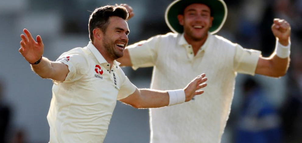James Anderson celebrates the wicket of West Indies' Kraigg Brathwaite and his 500th test wicket. Photo: Reuters