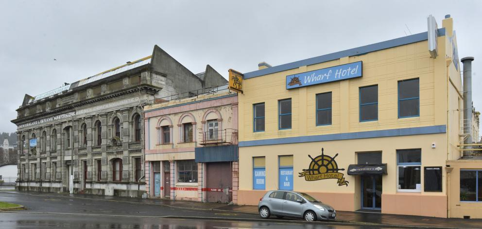 The former Gregg's building at 21 Fryatt St (centre) and the Wharf Hotel building at 25 Fryatt St (right) are being redeveloped by Russell Lund. Photo: Gerard O'Brien
