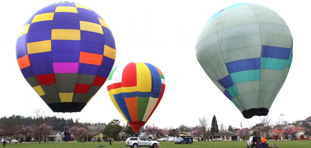 Hot air balloons hover above Alexandra's Pioneer Park yesterday. Photo: Jono Edwards
