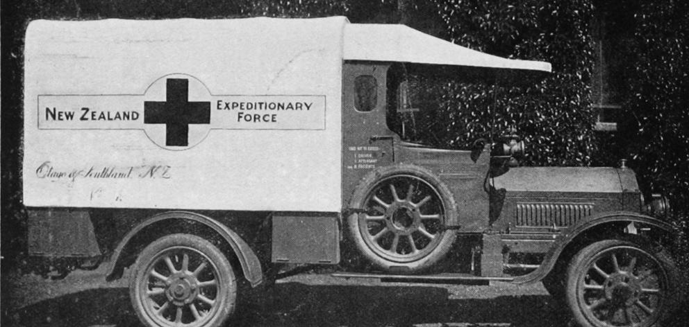 One of the three ambulances presented to the New Zealand Expeditionary Force by the Red Cross and the people of Otago and Southland. - Otago Witness, 12.9.1917.
