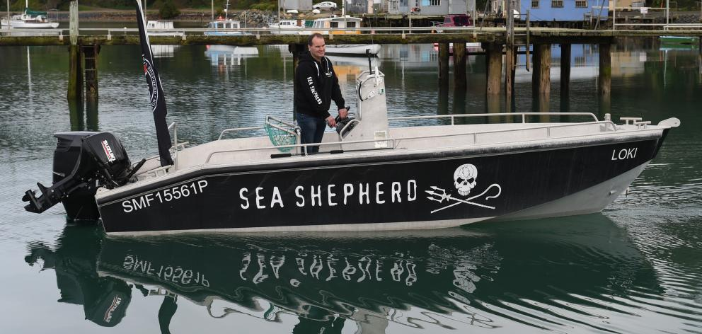 Sea Shepherd Operation Pahu campaign leader Grant Meikle launches the vessel Loki at Back Beach...