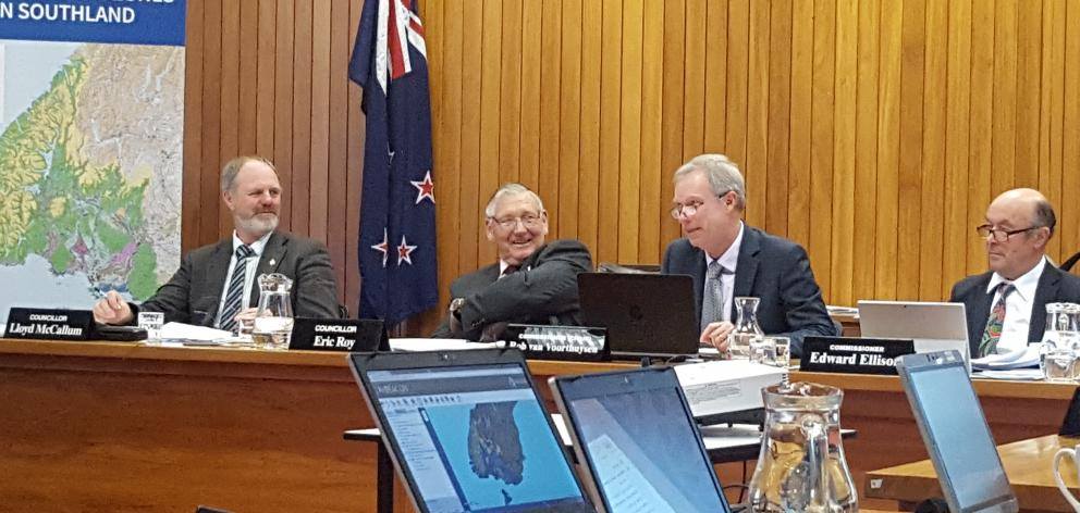 Southland Water and Land Plan hearing panel (from left) Environment Southland councillors Lloyd McCallum and Eric Roy, chairman Rob van Voorthuysen and independent commissioner Edward Ellison listen to submitters at the hearings in recent weeks. Photo: Ni