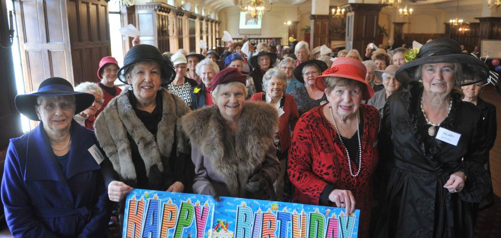 Dunedin Travel Club members (from left) Lorraine Harvey, Rona Chave, Margaret Woodford, Dawn Cassidy and Hilary Mitchell celebrate the club's 80th birthday at The Savoy yesterday. Photo: Christine O'Connor