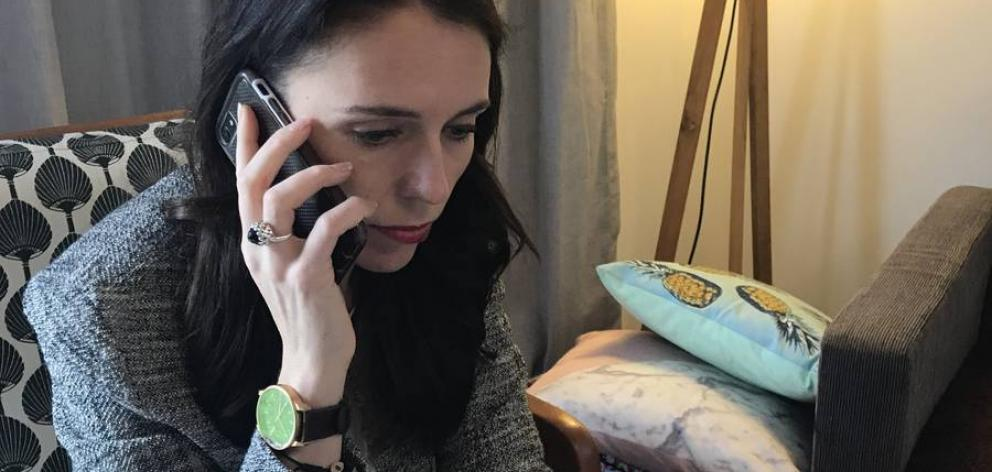 Jacinda Ardern takes a call from US President Donald Trump. Photo / Supplied